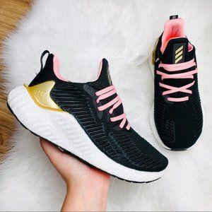 Adidas Alphaboost Core Black Gold Pink